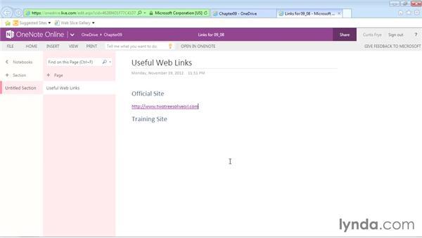 Inserting hyperlinks: Office Online Essential Training