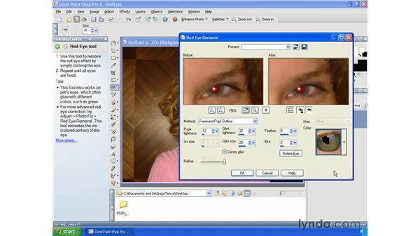 Repairing red-eye: Paint Shop Pro X Essential Training