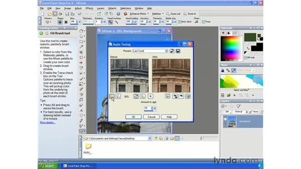 Creating sepia images: Paint Shop Pro X Essential Training