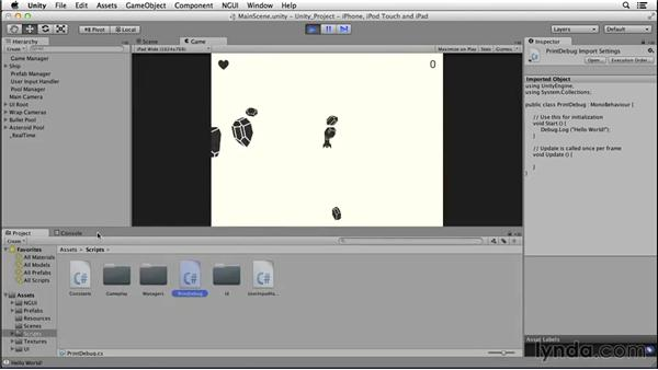 Printing debug logs: Creating Mobile Games with Unity