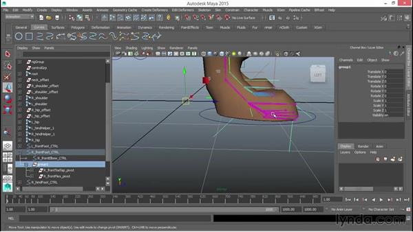 Adding subfoot pivots to the front feet: Rigging a Quadruped in Maya