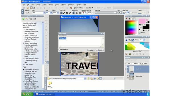 Creating and editing text: Paint Shop Pro X Essential Training
