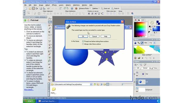 Rasterizing objects: Paint Shop Pro X Essential Training