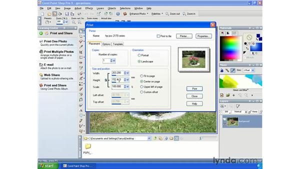 Printing single images: Paint Shop Pro X Essential Training
