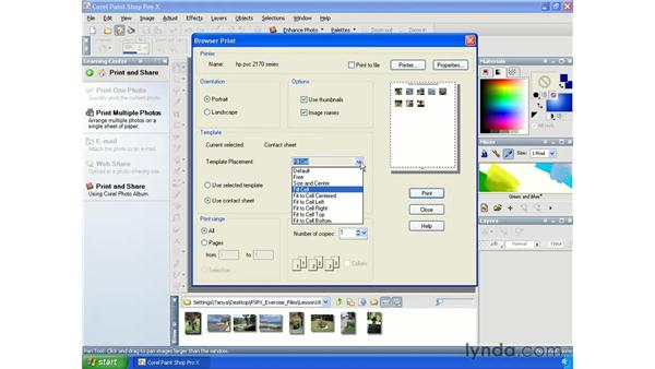 Printing multiple images: Paint Shop Pro X Essential Training