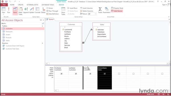 Exploring the design interface: Access 2013: Queries in Depth
