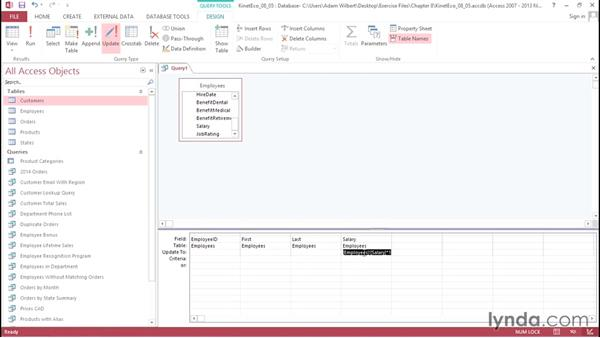 Creating update queries: Access 2013: Queries in Depth