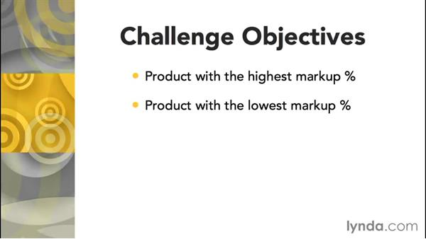 Challenge: Find out which products have the highest and lowest markup percentage: Access 2013: Queries in Depth