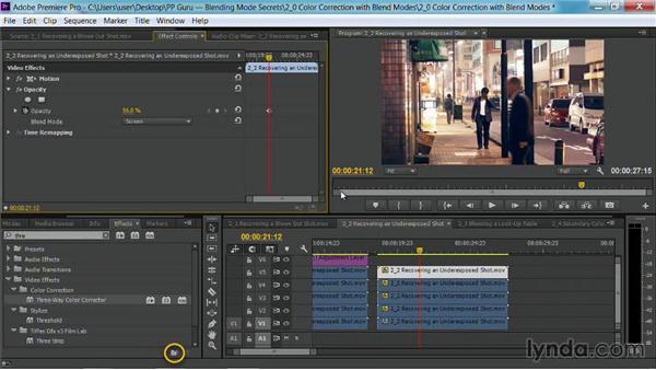 Recovering an underexposed shot: Premiere Pro Guru: Blending Mode Secrets
