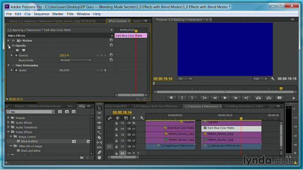 Applying a texture for a graphic treatment: Premiere Pro Guru: Blending Mode Secrets