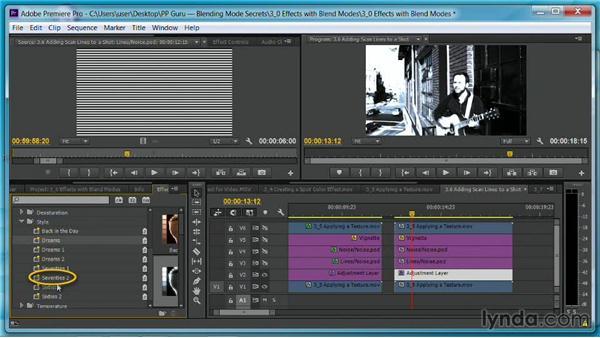 Adding scan lines to a shot: Premiere Pro Guru: Blending Mode Secrets