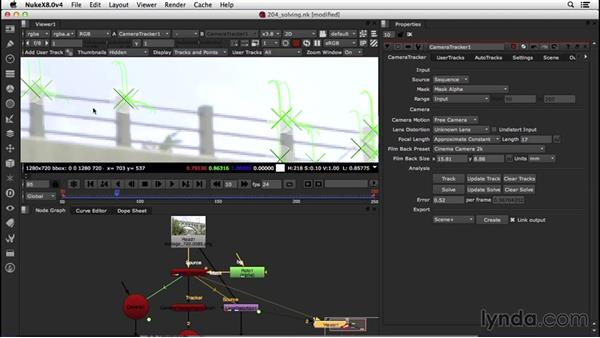 Solving the tracked shot and setting up the environment: VFX Techniques: Creating a CG Flag with Nuke X and CINEMA 4D