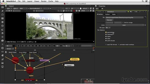 Exporting the tracked shot to CINEMA 4D: VFX Techniques: Creating a CG Flag with Nuke X and CINEMA 4D