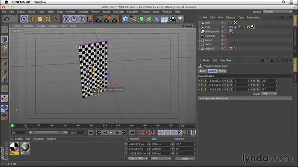 Building constraints and belts: VFX Techniques: Creating a CG Flag with Nuke X and CINEMA 4D