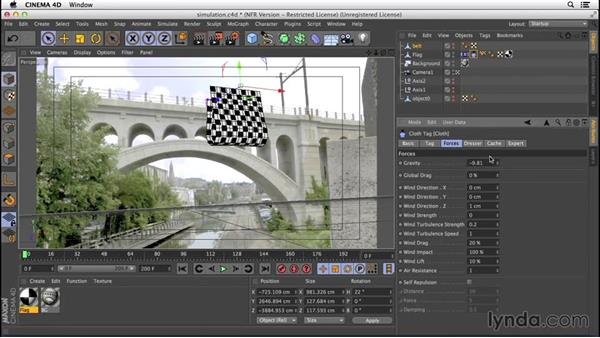Setting up the simulation: VFX Techniques: Creating a CG Flag with Nuke X and CINEMA 4D