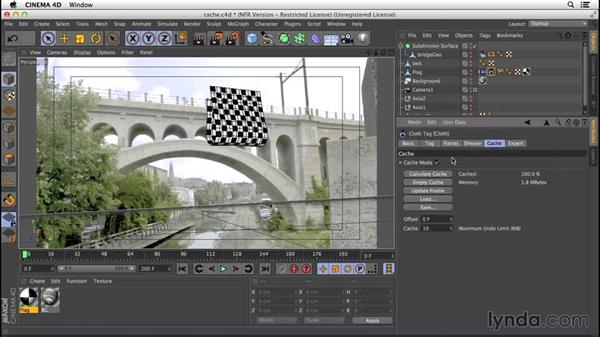 Caching and refining the simulation: VFX Techniques: Creating a CG Flag with Nuke X and CINEMA 4D