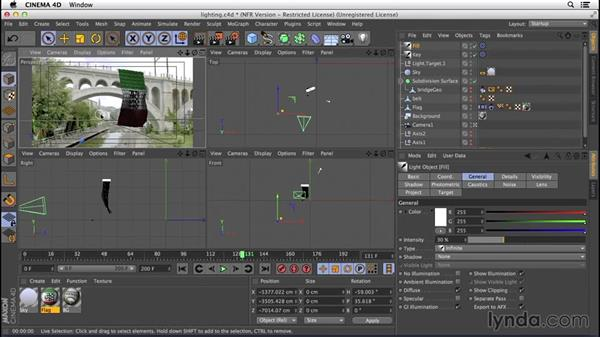 Matching CG light to the light in the background shot: VFX Techniques: Creating a CG Flag with Nuke X and CINEMA 4D