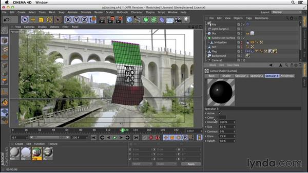 Adjusting the texture: VFX Techniques: Creating a CG Flag with Nuke X and CINEMA 4D