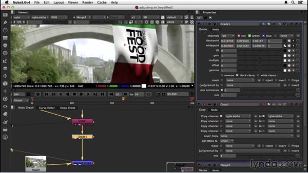 Adjusting passes to integrate into the footage: VFX Techniques: Creating a CG Flag with Nuke X and CINEMA 4D