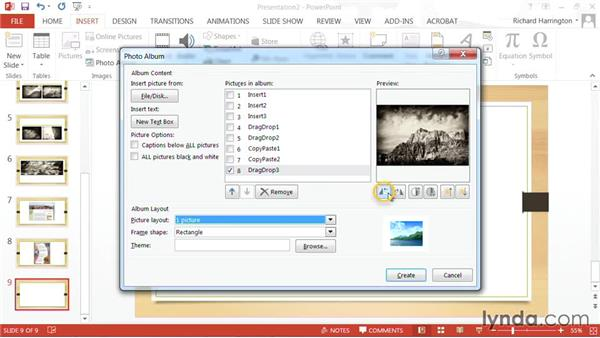 Inserting a photo album: PowerPoint: Using Photos and Video Effectively for Great Presentations