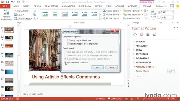 Compressing pictures: PowerPoint: Using Photos and Video Effectively for Great Presentations