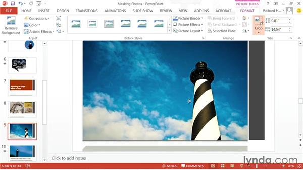 Adjusting an image within a crop: PowerPoint: Using Photos and Video Effectively for Great Presentations