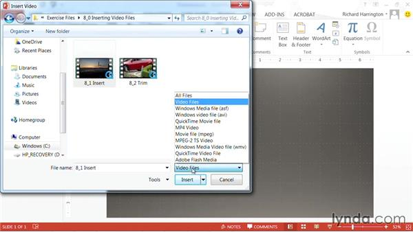 Adding a video file: PowerPoint: Using Photos and Video Effectively for Great Presentations