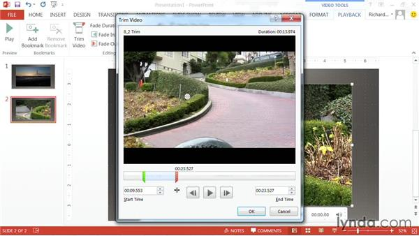 Trimming a video file's duration: PowerPoint: Using Photos and Video Effectively for Great Presentations
