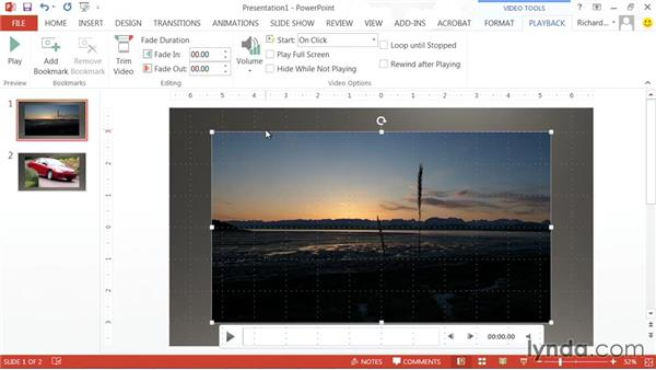 Setting the volume for a video clip: PowerPoint: Using Photos and Video Effectively for Great Presentations