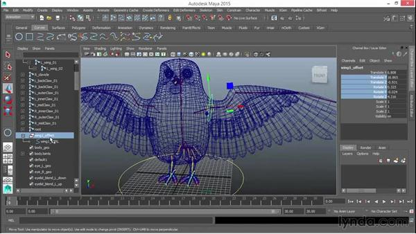 Rigging the primary wing joints: Rigging a Winged Animal in Maya