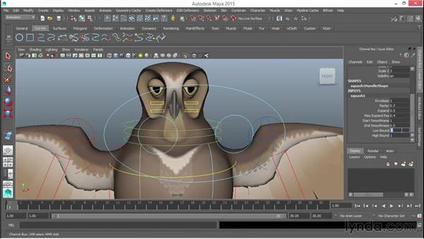 Adding a Squash/Stretch/Bend deformer to the head: Rigging a Winged Animal in Maya