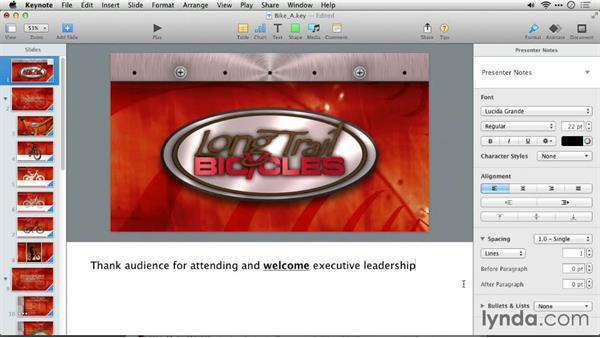 Adding presenter notes: Delivering Keynote 6 Presentations