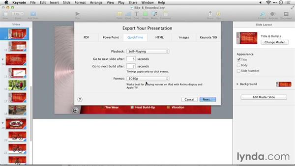 Exporting movies for iOS devices: Delivering Keynote 6 Presentations