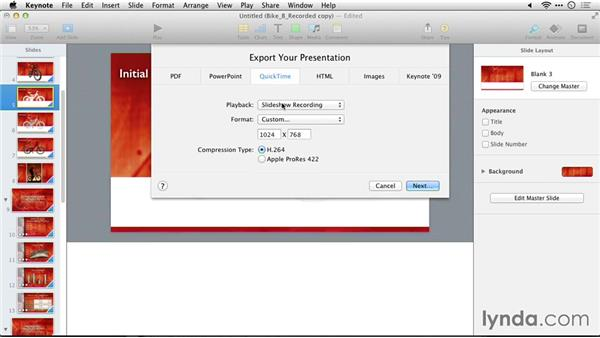 Exporting movies for professional video: Delivering Keynote 6 Presentations