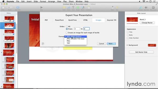 Exporting slides as graphics: Delivering Keynote 6 Presentations