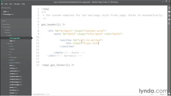 Adding dummy content to the front-page.php file: WordPress: Building a One-Page Style Site