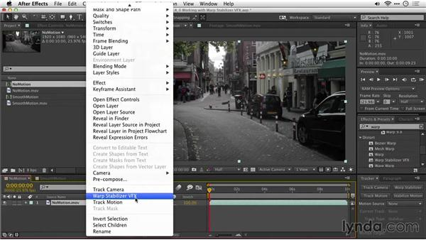 Applying the Warp Stabilizer VFX: After Effects Guru: Tracking and Stabilizing Footage
