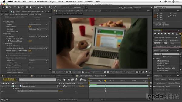 Using the Perspective method: After Effects Guru: Tracking and Stabilizing Footage