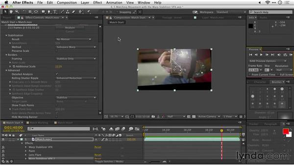 Matching movement with the Warp Stabilizer VFX: After Effects Guru: Tracking and Stabilizing Footage