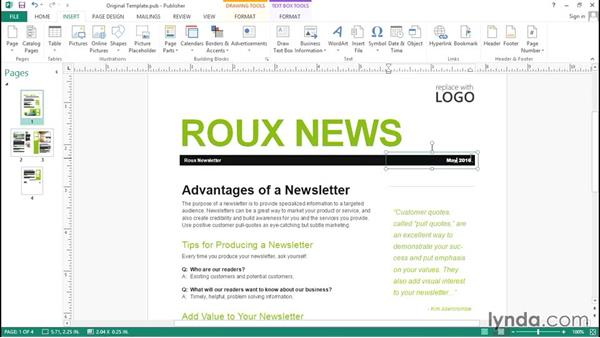 Changing existing text: Up and Running with Publisher 2013