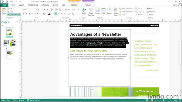 Changing font colors and styles: Up and Running with Publisher 2013