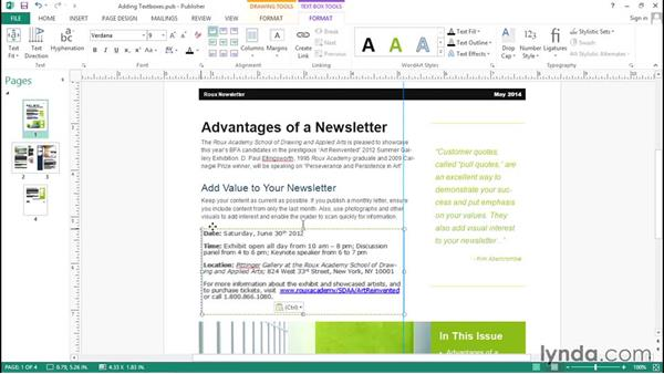 Adding new text boxes: Up and Running with Publisher 2013