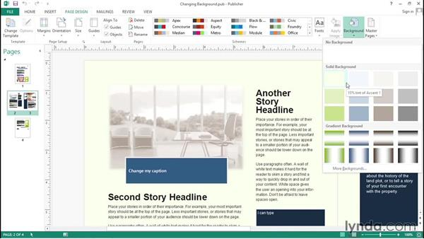 Adding a page background: Up and Running with Publisher 2013