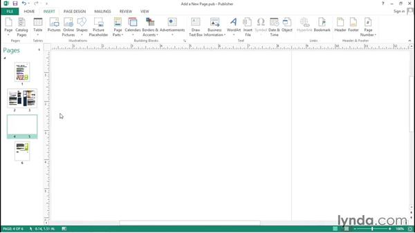 Adding and deleting pages: Up and Running with Publisher 2013