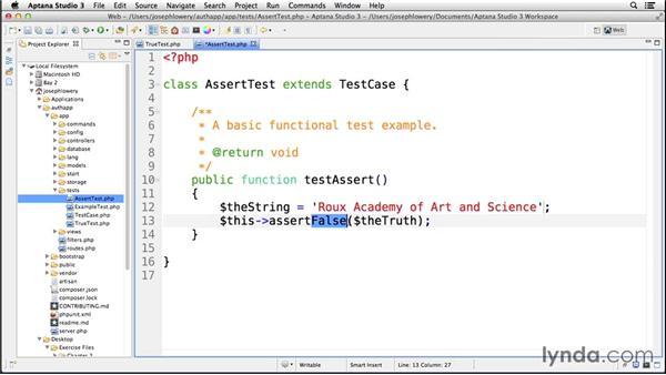 Handling framework assertions: Up and Running with Laravel
