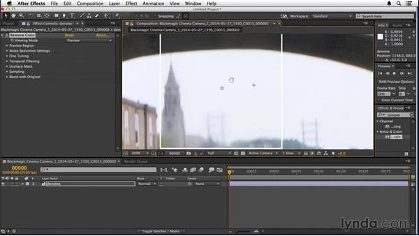 Managing noise in the background shot: VFX Techniques: Creating a CG Flag with After Effects and CINEMA 4D