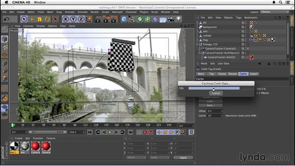 Caching and refining the simulation: VFX Techniques: Creating a CG Flag with After Effects and CINEMA 4D