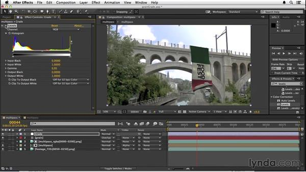 Adding grain and color grading: VFX Techniques: Creating a CG Flag with After Effects and CINEMA 4D
