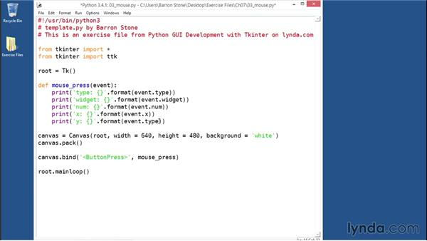 Binding to mouse events: Python GUI Development with Tkinter