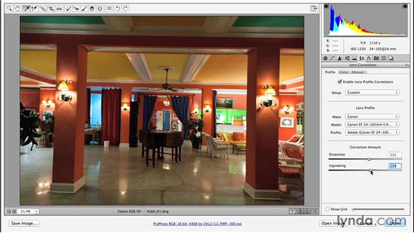Applying a lens profile correction: Enhancing Night and Low-Light Photos with Photoshop